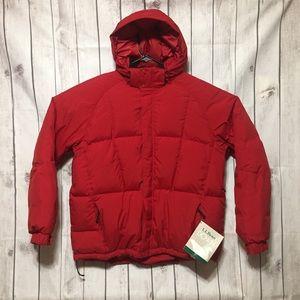 LL Bean Bigelow Ski Down Puffer Jacket Red XL